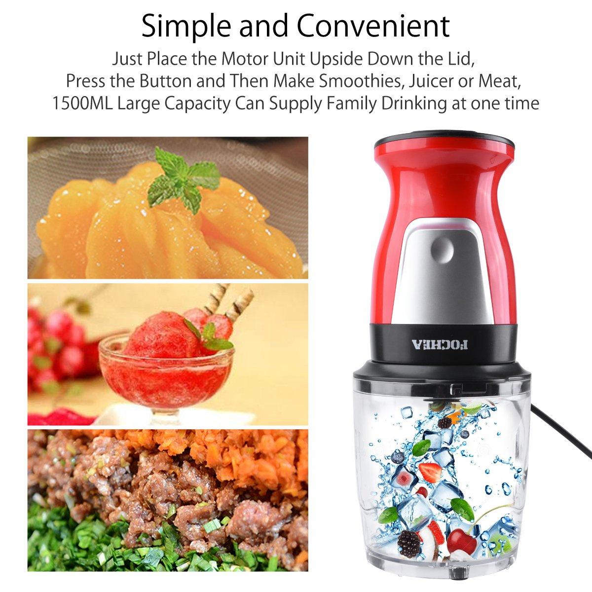 Mini Batidora de Vaso Multifunción 300W Fochea Portátil Batidora para Smoothies Picadora de Alimentos Molinillo, Libre de BPA, Color Rojo: Amazon.es: Hogar