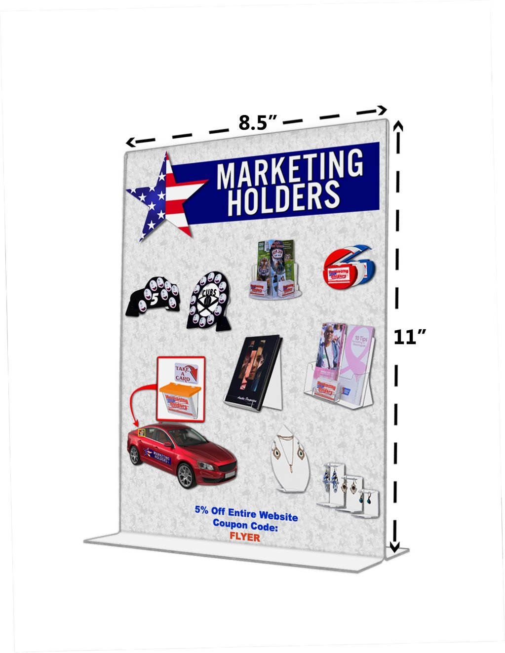 "Marketing Holders Clear Acrylic 6""W x 8""H Bottom Loading, Double-sided Table Sign Holder for Restaurants, Retail Stores and Offices (24, 8.5 x 11) by Marketing Holders (Image #2)"