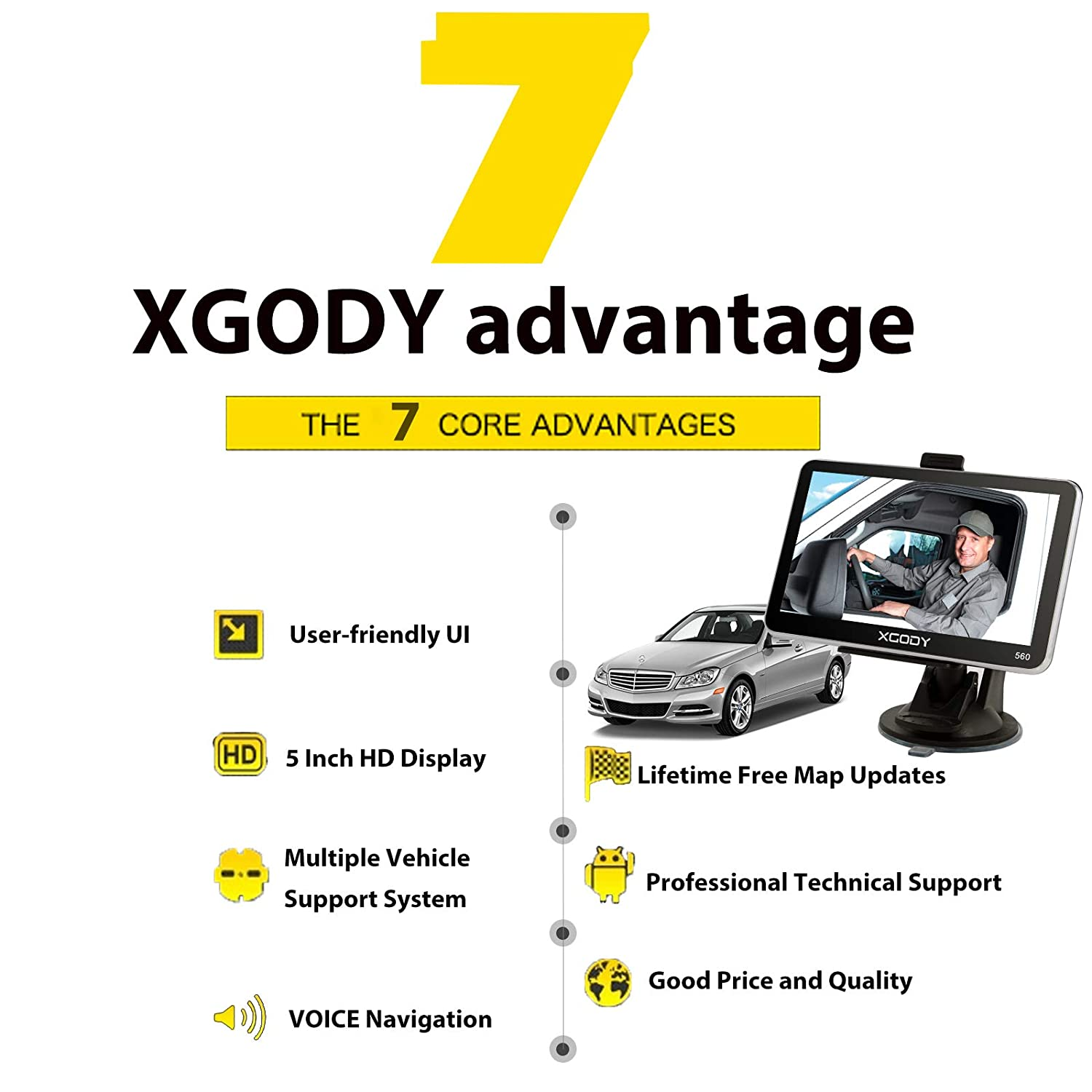 XGODY 560 SAT NAV GPS Navigation System 5 Inch 8GB 128MB Car Truck Lorry Satellite Navigator with Post Code Search Speed Camera Alerts UK and EU Latest 2018 Maps with Lifetime Free Updates