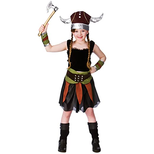 So Sydney Girls Toddler Deluxe Viking Girl Nordic Warrior Halloween Costume & Accessories (XS (2T/4T), Viking Girl)
