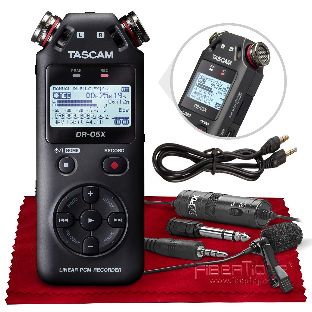 Tascam DR-05X Stereo Handheld Digital Audio Recorder with USB Audio Interface + XPIX Lav Microphone + Basic Accessories Bundle