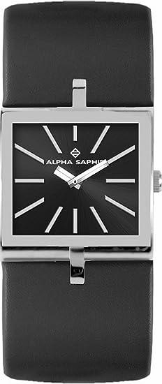 Alpha Saphir 297A - Reloj de mujer de cuarzo, correa de piel color negro: Amazon.es: Relojes