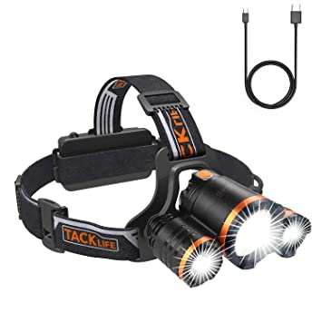 Led6000 Rechargeable La FrontalesLampe Frontale Lumens phare À Tacklife Lampes 90 Course lampe Frontal Réglables Pour 200m4 ModesUsb Degrés odCQBthrsx