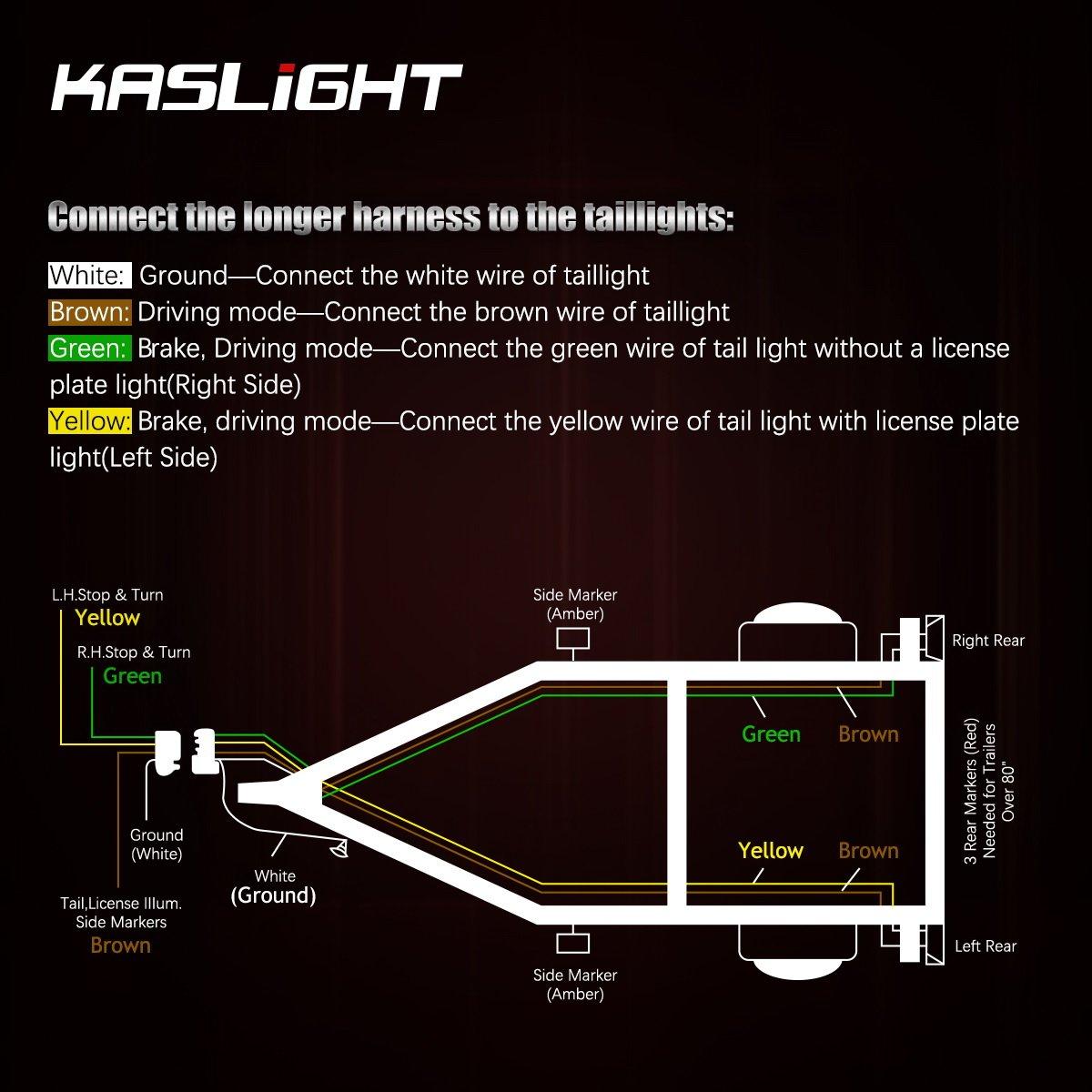 Kaslight Boat Trailer Lights Marine Wiring Harness Converter Box Waterproof Ip68 12v Led Submersible Tail Light Kit