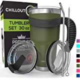Stainless Steel Travel Mug with Handle 30oz - 6 Piece Set. Tumbler with Handle, Straw, Cleaning Brush & 2 Lids. Double Wall Insulated Large Coffee Mug Bundle - Army Green Tumbler