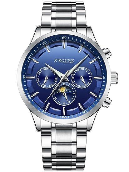 Alienwork Reloj Mecánico Automático Relojes Automáticos Hombre Mujer Acero Inoxidable Plata Analógicos Unisex Calendario Fecha Azul Impermeable: Amazon.es: ...