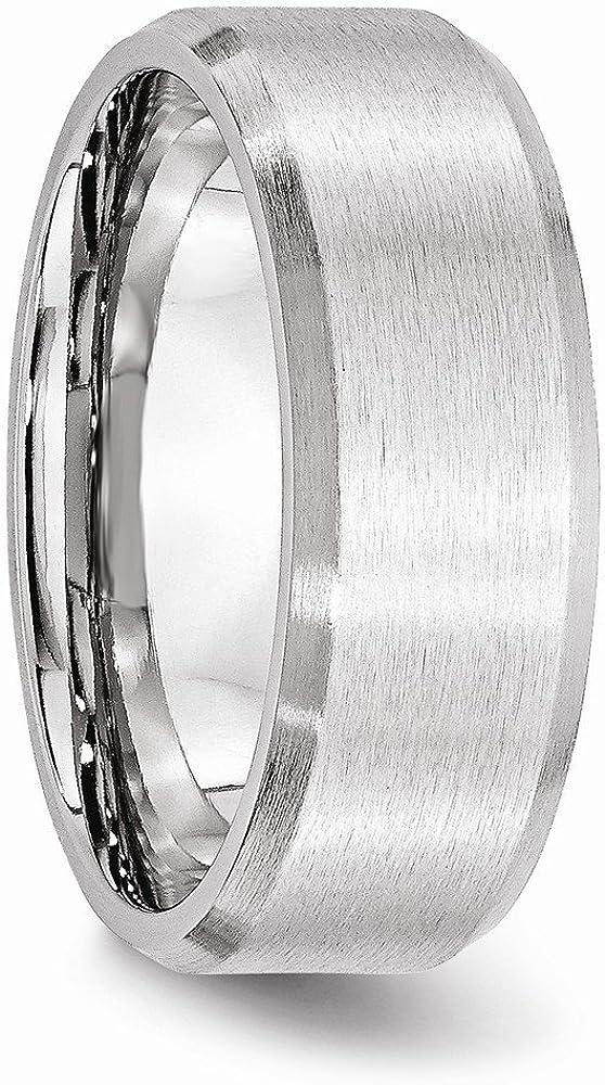 Wedding Bands Classic Bands Flat Bands w//Edge Cobalt Beveled Edge Satin 8mm Band Size 12