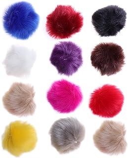 ULTNICE 12 pcs Faux Fourrure Pom Poms Fluffy Boule pour Tricoter Chapeaux Foulards Sacs Charmes
