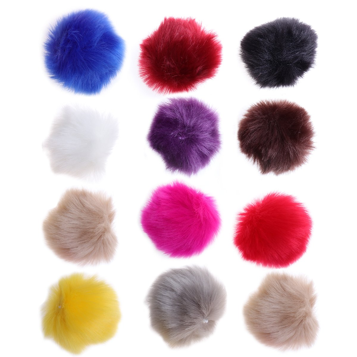 ULTNICE 12pcs Faux Fur Pom Poms DIY Fluffy Ball for Knitting Hats Scarves Bags Charms