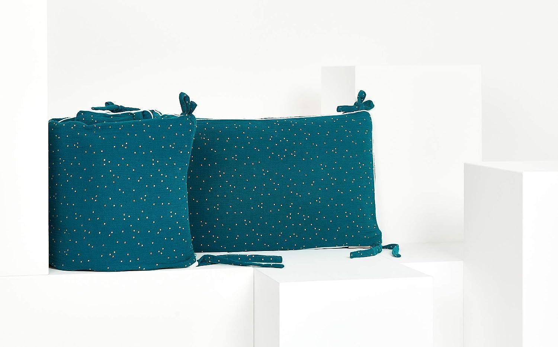 Bett-Umrandung f/ür Baby-Bett pass KraftKids Nestchen Musselin blau Bettgr/ö/ße 120 x 60 cm f Baby-Nest mit separatem Au/ßenbezug