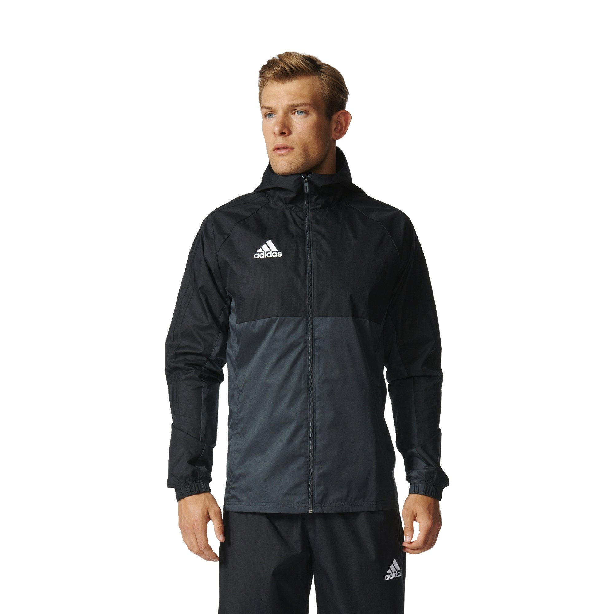 Adidas Tiro 17 Mens Soccer Rain Jacket XS Black-Dark Grey-White by adidas