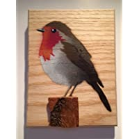 Robin Bird Stencil Artwork Handmade Spray Painted Art Picture on wood. Christmas Gift for her birthday/wife / for your grandma/for mum 14 x 12 cm