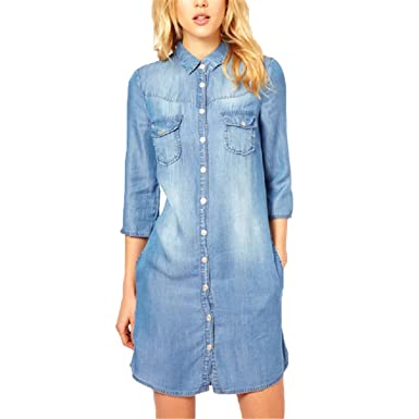 2af21cdb Beautifullight Great,Good looking new women casual half sleeve long jeans  dress Female denim vintage dresses plus size lady pocket shirt dresses  vestidos ...