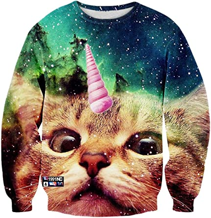 Blizzard Bay Mens Pizza Cat Galaxy Ugly Christmas Sweater Sweater