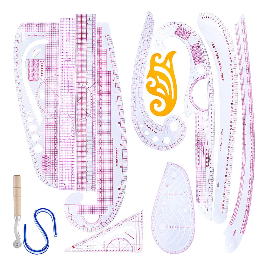 IPOTCH 13 Stlyes Acrylic Fashion Metric Ruler Set Drawing Comma Straight French Curve Pattern Grading Rulers
