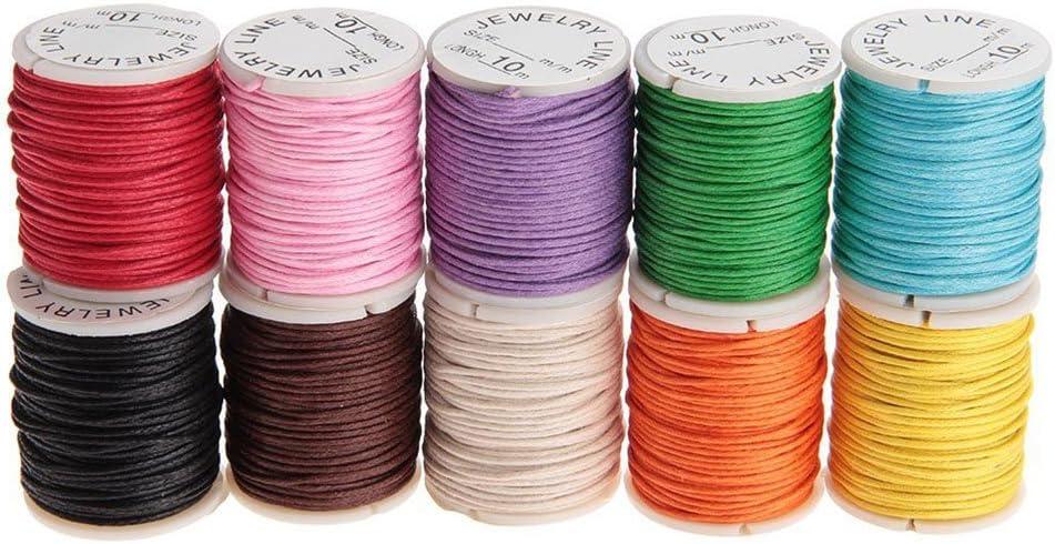 Rosenice, cordón de algodón encerado, cordel para joyas, perlas, hilo 10m x 1mm–10unidades