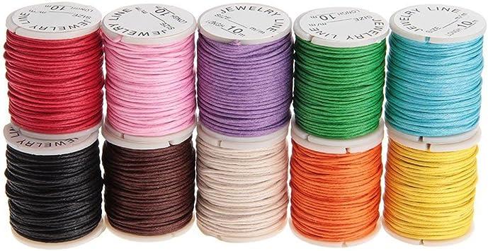 PIXNOR 10pcs 10 m 1 mm Cordón de algodón encerado cuerdas de cuerdas para DIY Collar Pulsera para hacer (color al azar): Amazon.es: Bricolaje y herramientas