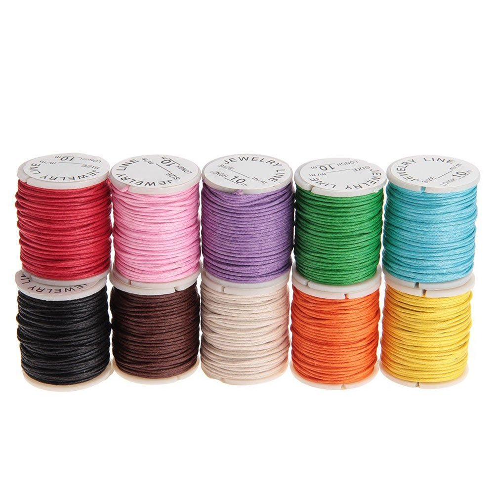 Tinksky 10pcs 10M 1MM Waxed Cotton Cords Strings Ropes for DIY Necklace Bracelet Beading Jewelry Craft Making (Random Color)