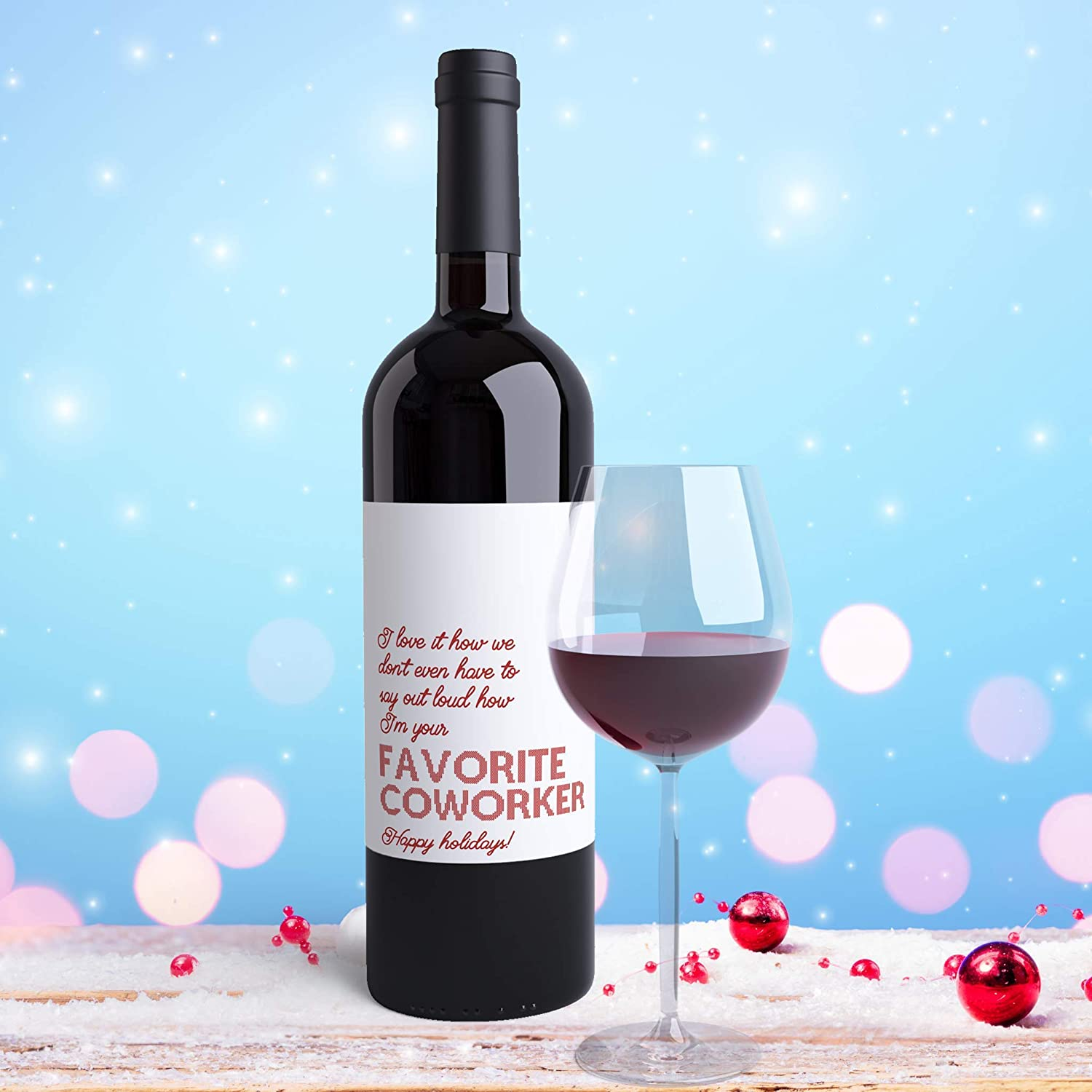 Wine Label for Work Colleagues in Corporate Office Holiday Card Adult Humor Funny Christmas Gift for Coworkers Favorite Coworker