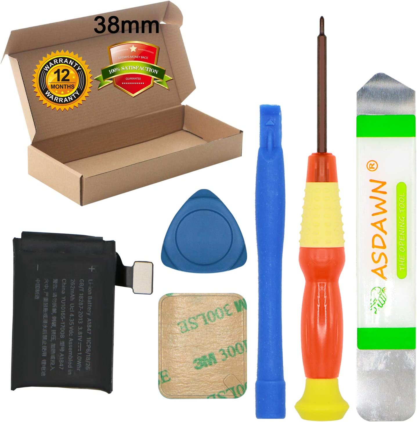 for 38mm Apple Watch Series 3 Battery Replacement (GPS Version + LTE Cellular Version) 3rd Generation A1847 A1848 A1858 A1860 with Repair Tool Set + Back Cover Adhesive + Installation Instruction