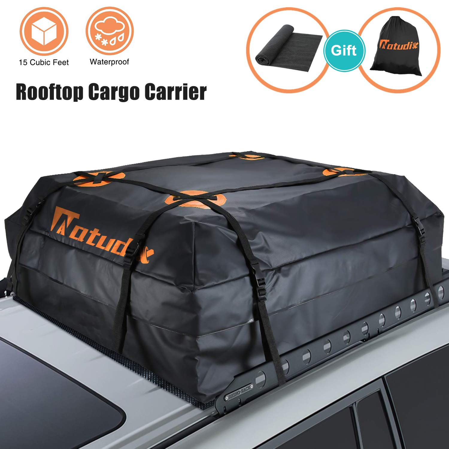 Natudix Car Rooftop Cargo Carrier Bag - 15 Cubic Feet Waterproof & Sturdy Zippers Car Roof Bag with Protective Mat and Carry Bag, Fits All Cars with Rack by Natudix