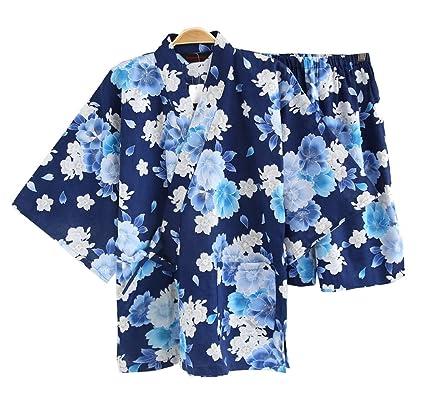 Black Temptation Pijama de Kimono de Algodón de Manga Corta para Hombre de Estilo Japonés,