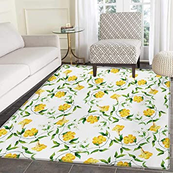 Amazon Com Yellow Flower Floor Mat Kids Romantic Botanical Theme