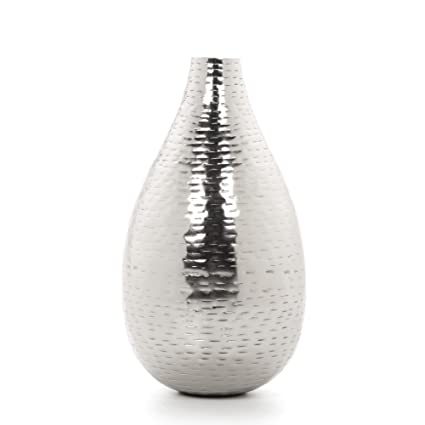 Amazon Hosley 875 High Silver Finish Hammered Metal Vase