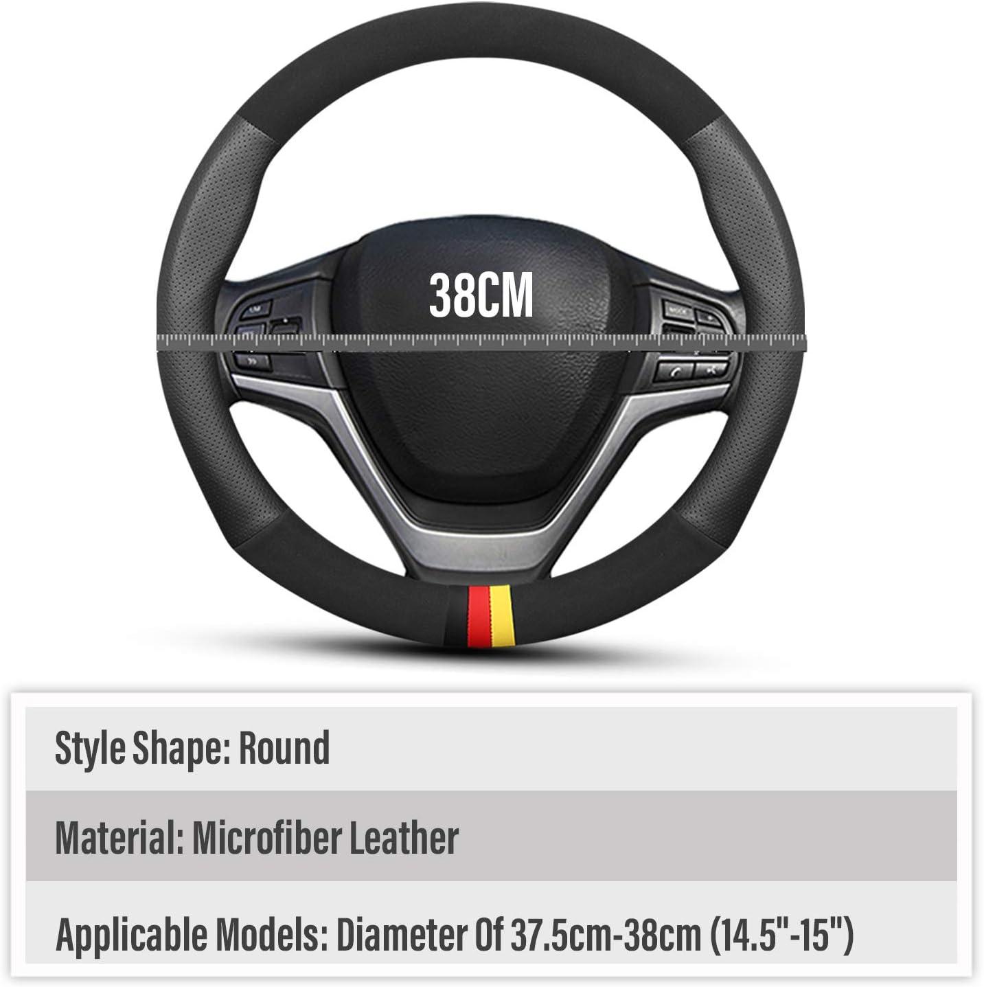 15 D-Schwarz Ergocar Auto Lenkradbezug Rutschfester Auto Sport Lenkradschutz Mikrofaser Leder /& PU Leder f/ür Durchmesser 38cm