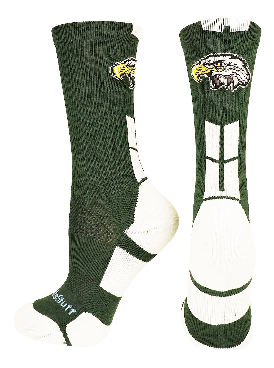 MadSportsStuff Eagles Logo Athletic Crew Socks (Dark Green/White, Medium)