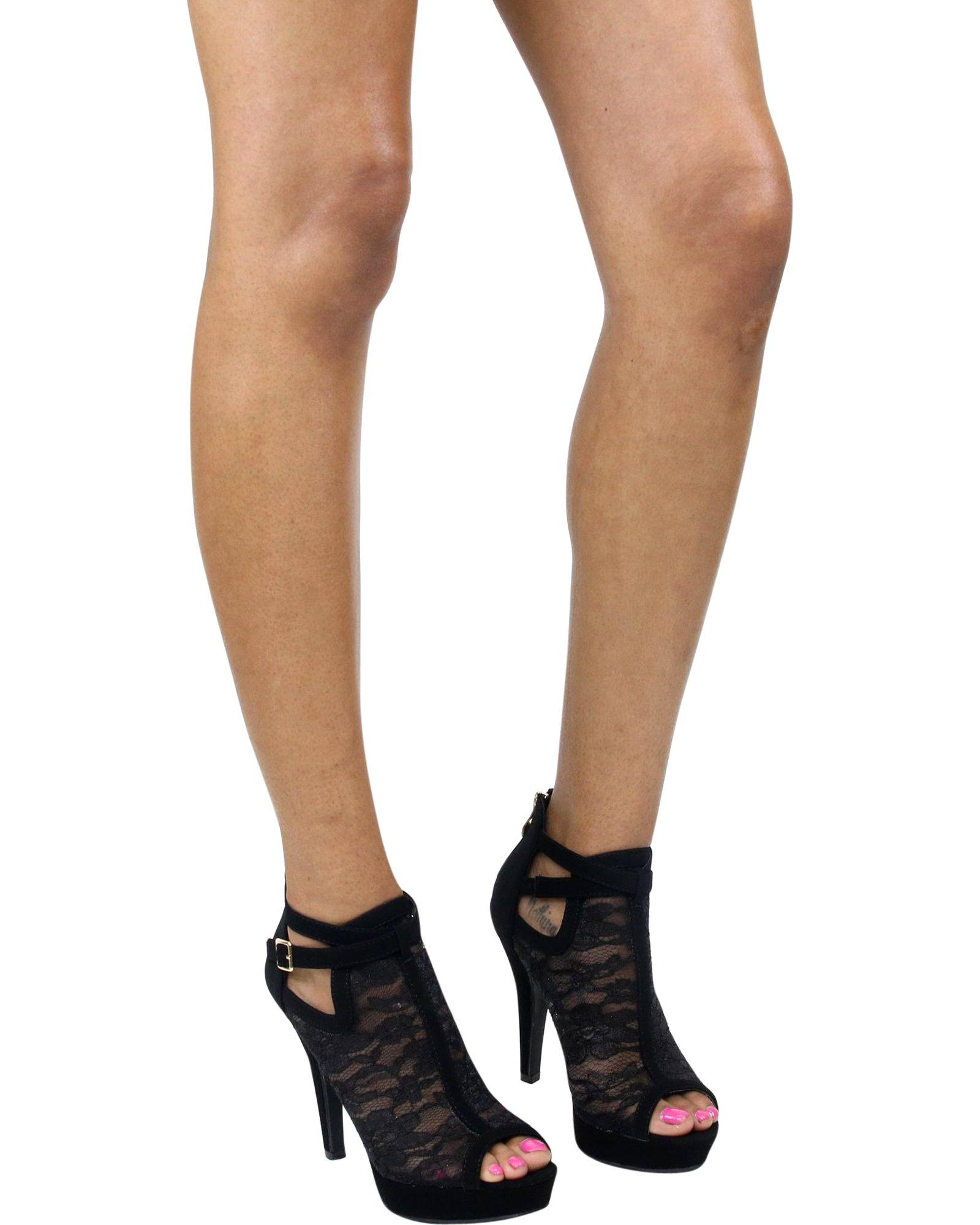 Top Moda Women's Khole Lacey Heel, Black,10 by Top Moda (Image #2)