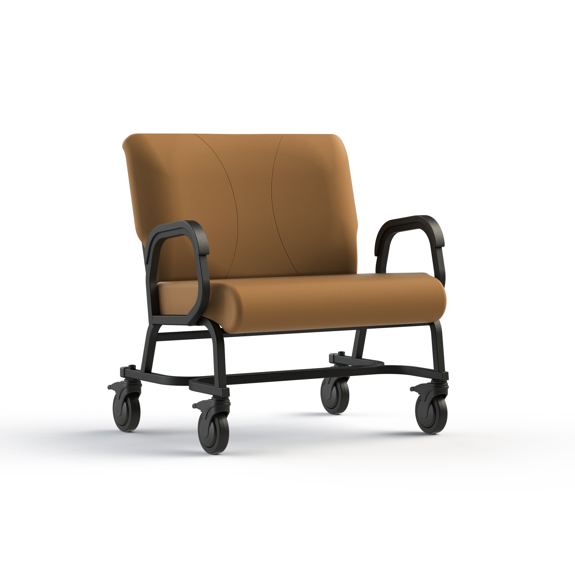 """Bariatric office chair with four locking casters (5"""" dia.), 30'' wide, rated for 600 lbs."""