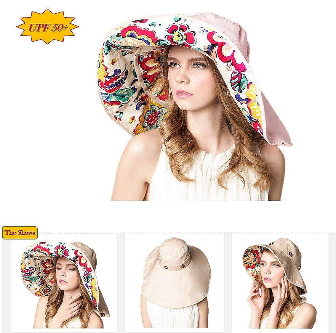 934f494b293 iHomey Packable Extra Large Brim Floppy Sun Hat Reversible UPF 50+ Beach  Sun Bucket Hat Beige at Amazon Women s Clothing store