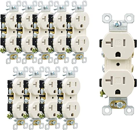 20A Standard Duplex Receptacles 20 Amp Tamper Resistant Outlets IVORY TR 50 pc