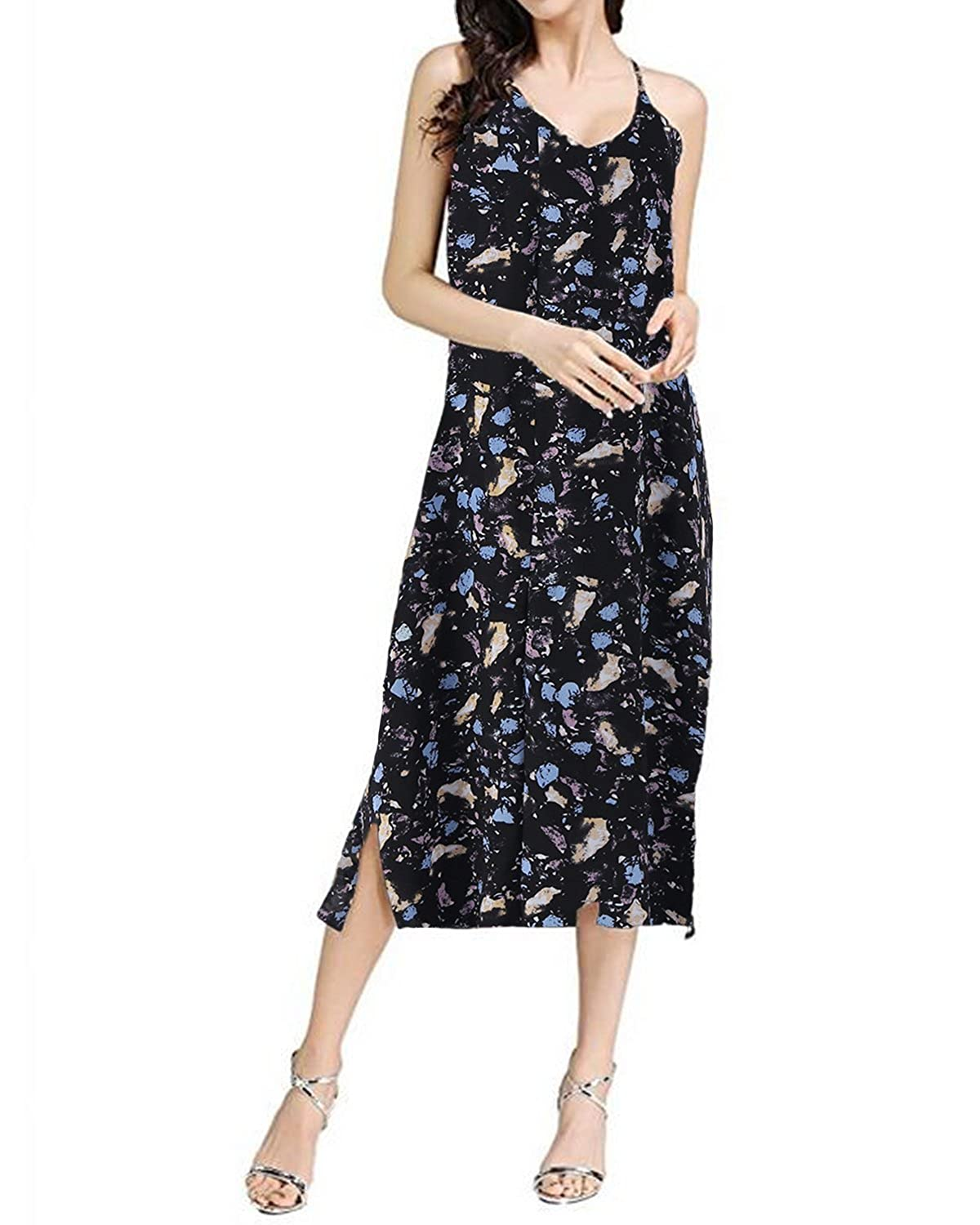47201ffc1b27c Soft Material ] : Polyester, Women Floral Irregular Long Maxi Dress Was  Made of High Quality And Stretchy Fabric, Breathable,  Skin-friendly,Lightweight And ...