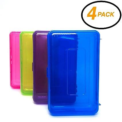 Emraw Utility Storage Box - Bright Color Multi Purpose Pencil Box for School Supplies Durable Plastic Pencil Box, Small Plastic Pencil Case, Mini ...