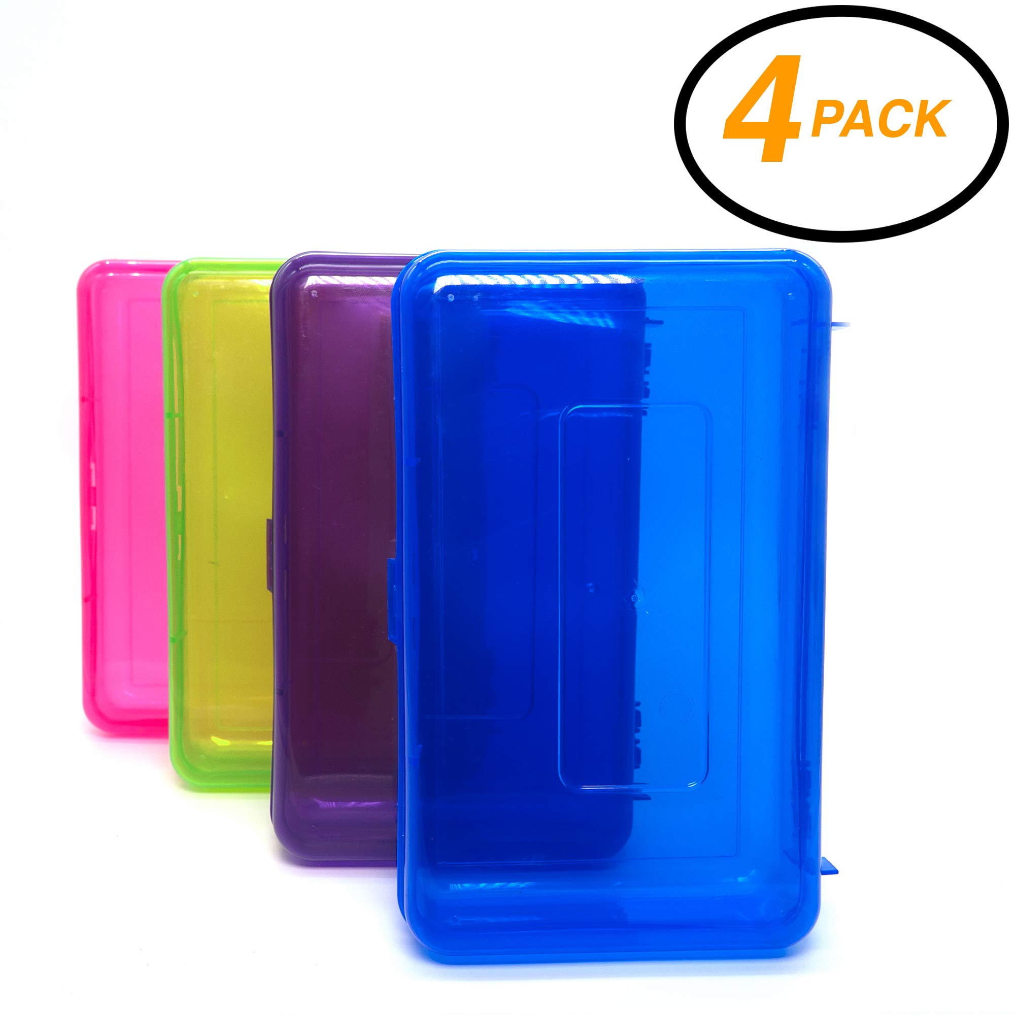 Emraw Utility Storage Box - Bright Color Multi Purpose Pencil Box for School Supplies Durable Plastic Pencil Box, Small Plastic Pencil Case, Mini Organizer Storage Box (Random 4-Pack) by Emraw
