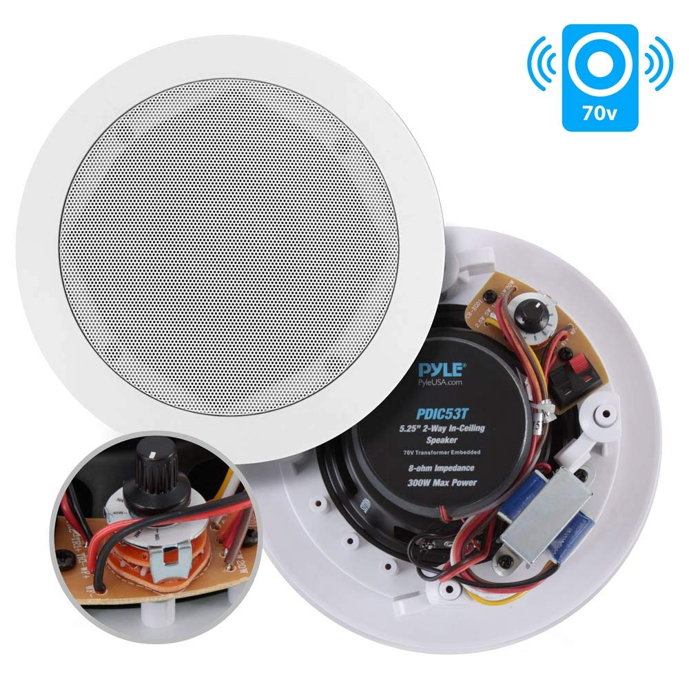 """Ceiling and Wall Mount Speaker - 5.25"""" 2-Way 70V Audio Stereo Sound Subwoofer Sound with Dome Tweeter, 300 Watts, In-Wall & In-Ceiling Flush Design for Home Surround System - Pyle PDIC53T (White)"""