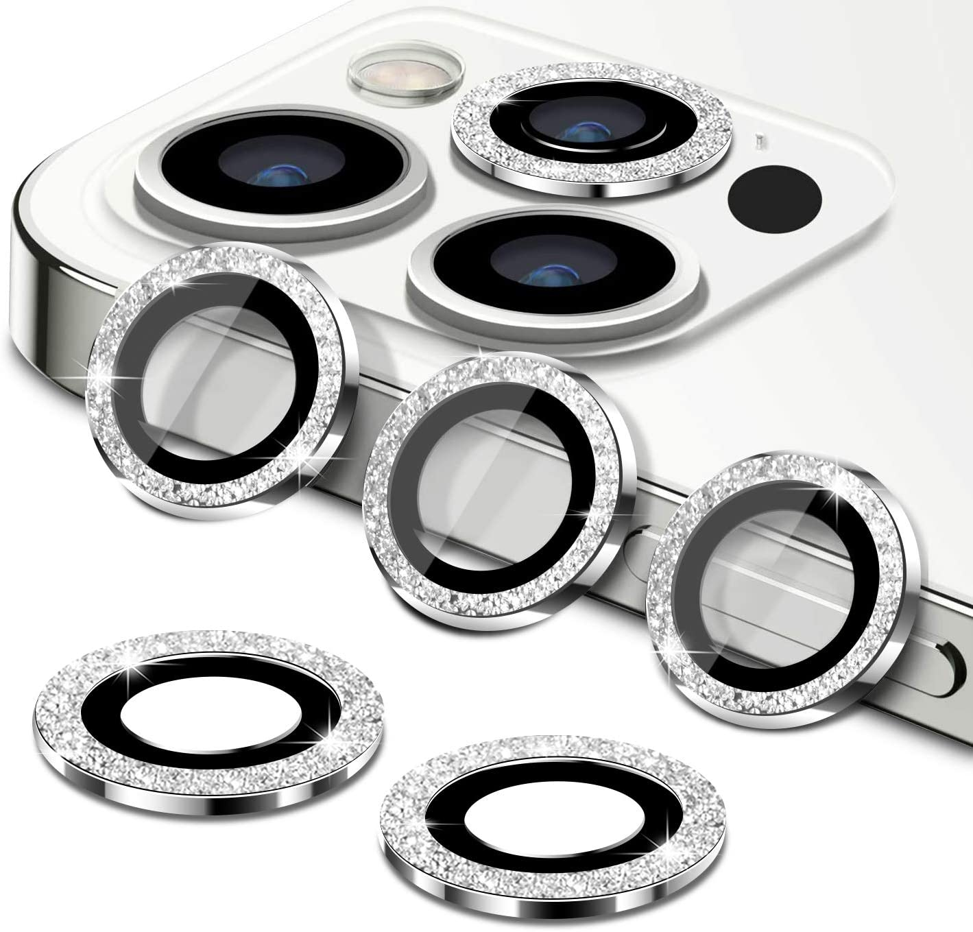 [6PCS] Camera Lens Protector for iPhone 12 Pro Max 6.7'', HD Tempered Glass Aluminum Alloy Lens Protection Ring Film, Anti-Scratch/Anti-Drop/Anti-Dust (Sparkling)