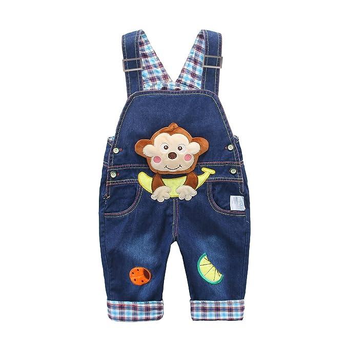 DEBAIJIA Bebé Niños Niñas Peto Vaquero Overalls Mono Largo Pantalón Elegante Azul con Patrón Animal - 80: Amazon.es: Ropa y accesorios