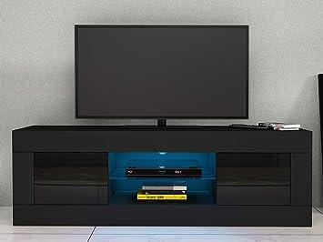 Anaelle Panana LED - Mueble de TV de Cristal con 2 Puertas para Sala de Estar, salón y Dormitorio, etc, Funda de Almohada: 125 x 35 x 40 cm, Negro, 125 x 35 x 40 cm: Amazon.es: Electrónica