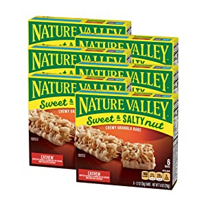 Nature Valley Granola Bars, Sweet and Salty Nut, Cashew, 6 ct, 6 Boxes,