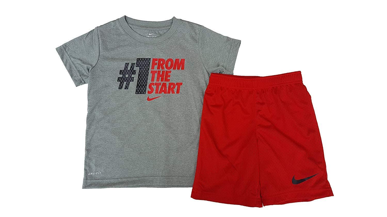 Nike Baby Boys' 2 Piece ''#1 From The Start'' Short Sleeve & Shorts Set (7, University Red)