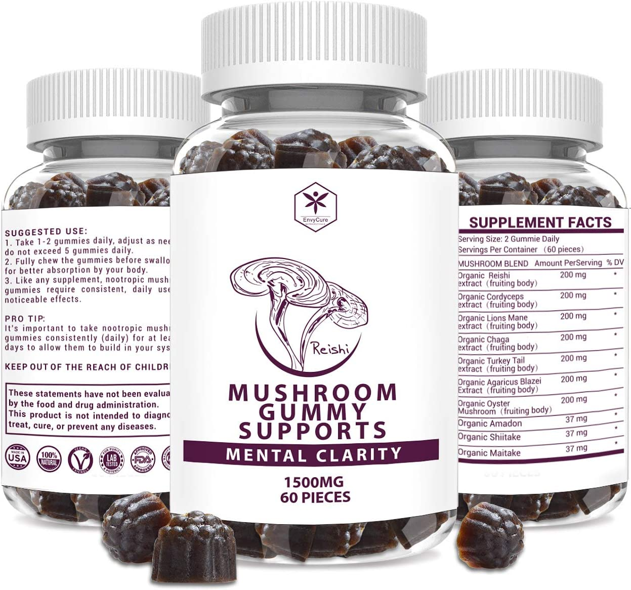 Lions Mane Mushroom Supplement for Humans Organic Gummies Nootropic Brain Supplement, Cordyceps Reishi & Shitake Maitake Turkey Men & Women, 60 pcs Vegan