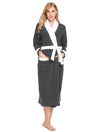 071baa22c3 Goodfans Women Long Sleeve Fleece Night Robe Shawl Collar Belt Closure Terry  Turkish Bathrobe Sleepwear