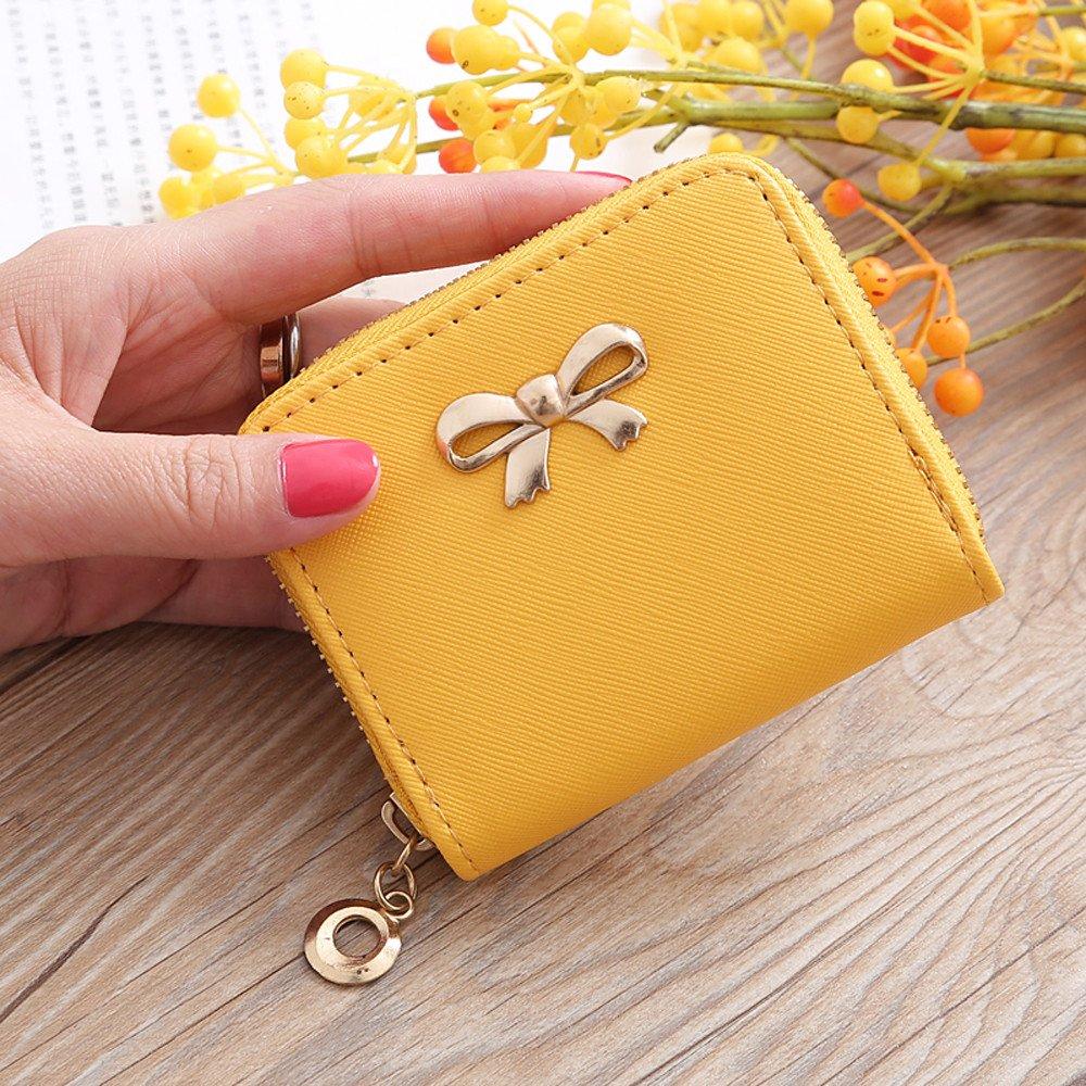 ALIKEEY Moda Mujer Sola Tira Cremallera Solid Bow Pequeño Cuadrado Amarillo Bolsa Bolso De La Moneda