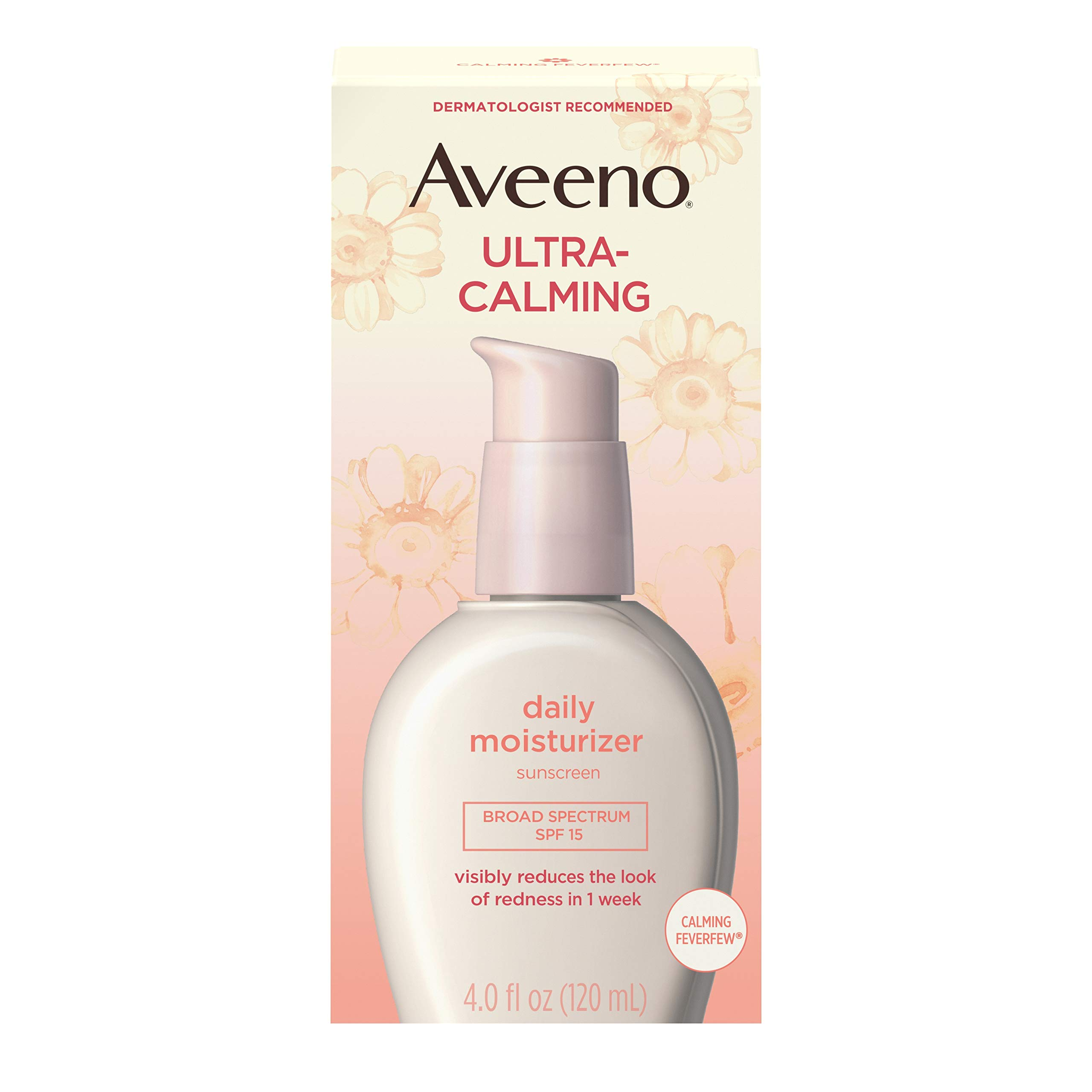 Aveeno Ultra-Calming Fragrance-Free Daily Facial Moisturizer for Sensitive, Dry Skin with SPF 15 Sunscreen, Calming Feverfew & Nourishing Oat, 4 fl. oz