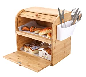 TQVAI Natural Bamboo 2 Layer Bread Storage Box Food Can Rack Organizer - Detachable Design - Can Use as 2 Individual Bread Bin