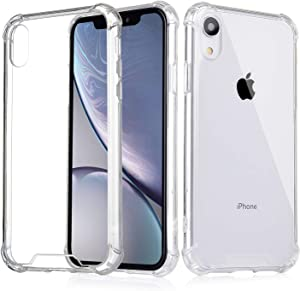 Aimote iPhone XR Case, [Crystal Clear] Case Cover [Shock Absorption] Transparent Hard Plastic Back Plate Soft TPU Gel Bumper for iPhone XR (2018)[6.1