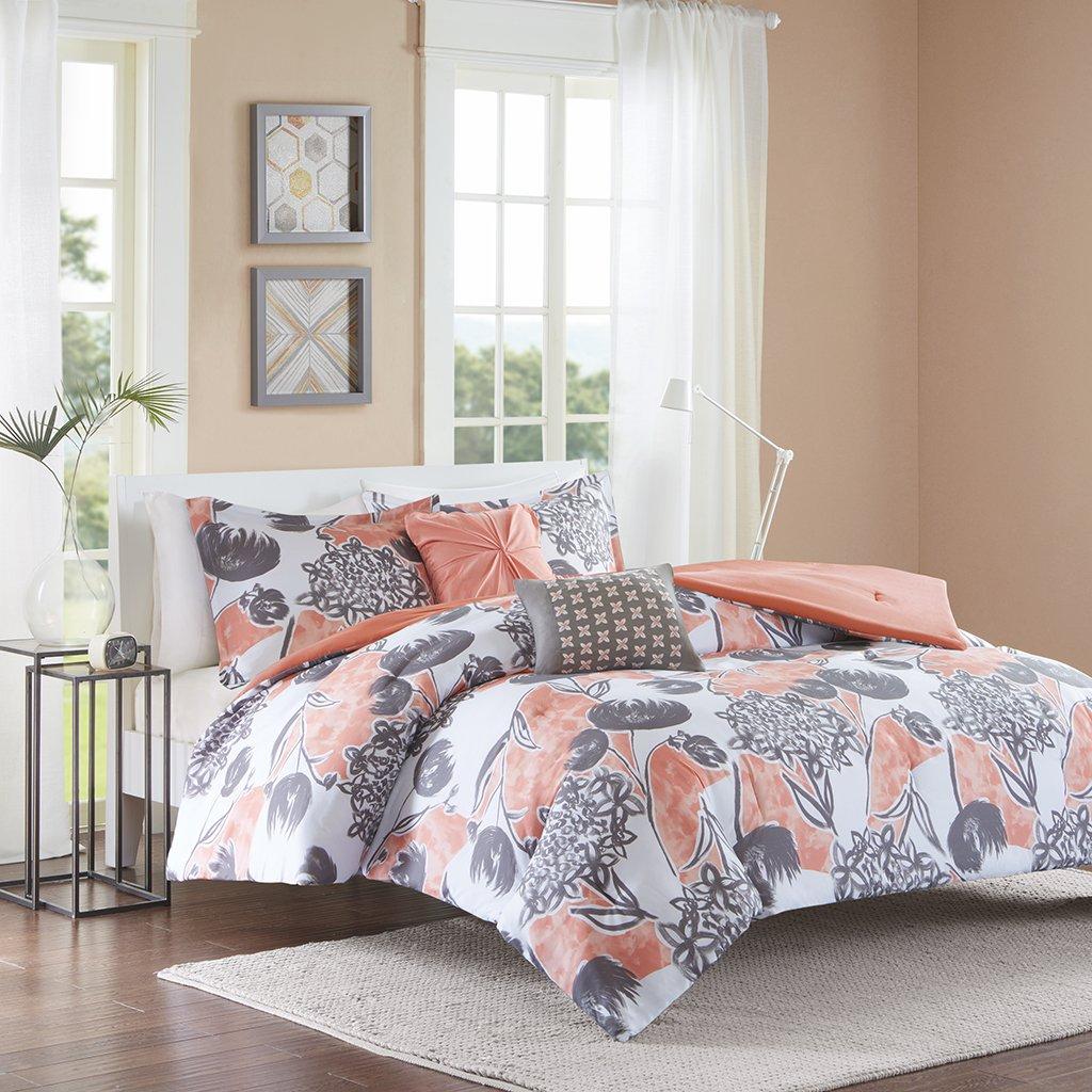 Intelligent Design Marie Comforter Set Full/Queen Size - Coral, Grey, Brushed Floral – 5 Piece Bed Sets – Ultra Soft Microfiber Teen Bedding for Girls Bedroom